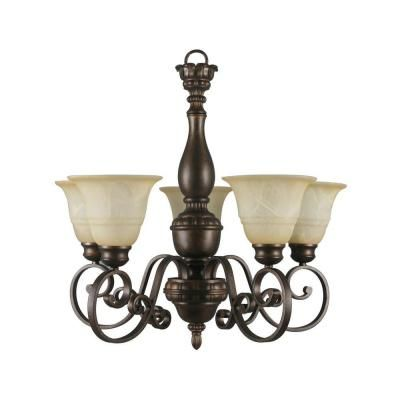 Hampton Bay Carina 5 Light Aged Bronze Chandelier With Tea Stained Glass Shade 15670 Bronze Chandelier Chandelier Glass Shades
