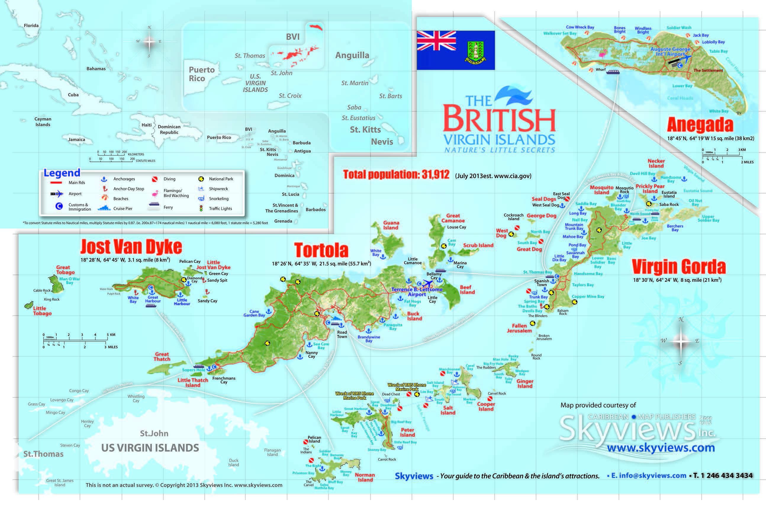 MarineMax Vacations Map Of The BVI GO Maps Islands - Map of virgin islands us and british