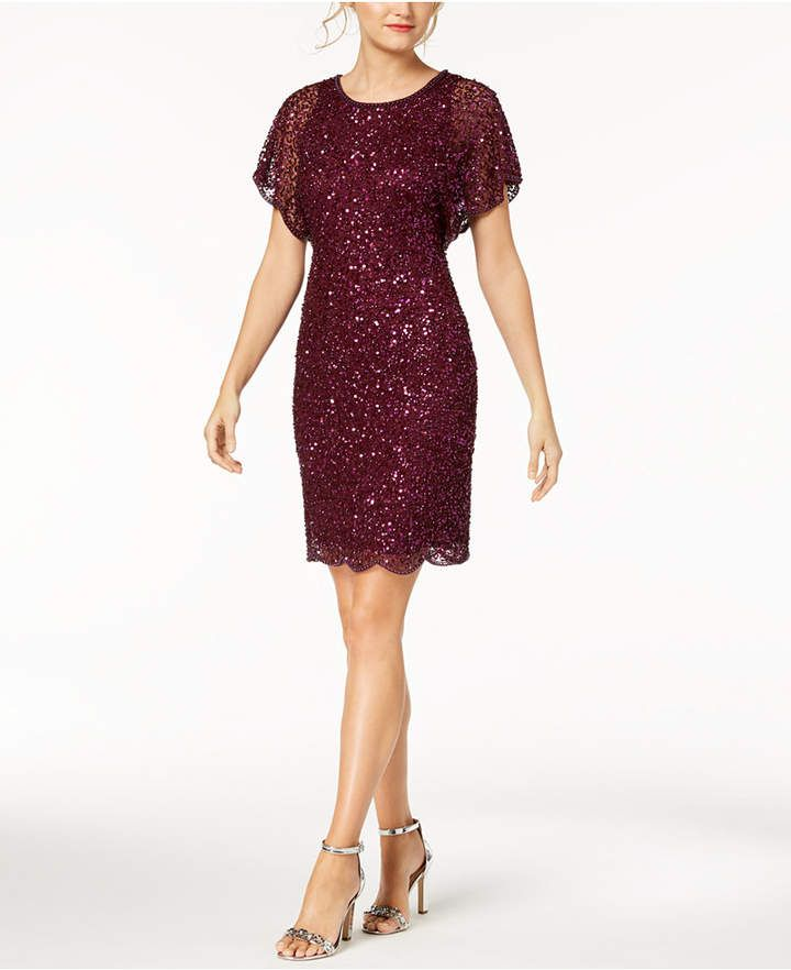 bc1d09e9679 Adrianna Papell Petite Beaded Sequined Dress in 2019