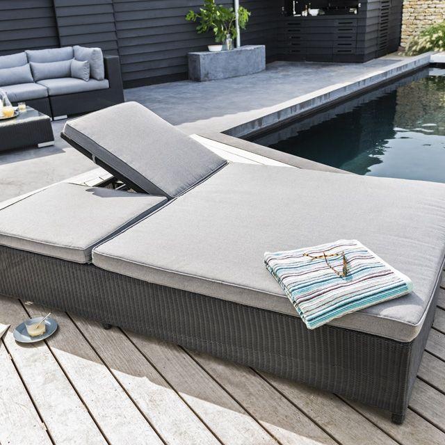 Bain de soleil double lit en rotin miranda booma for Lit bain de soleil pliable
