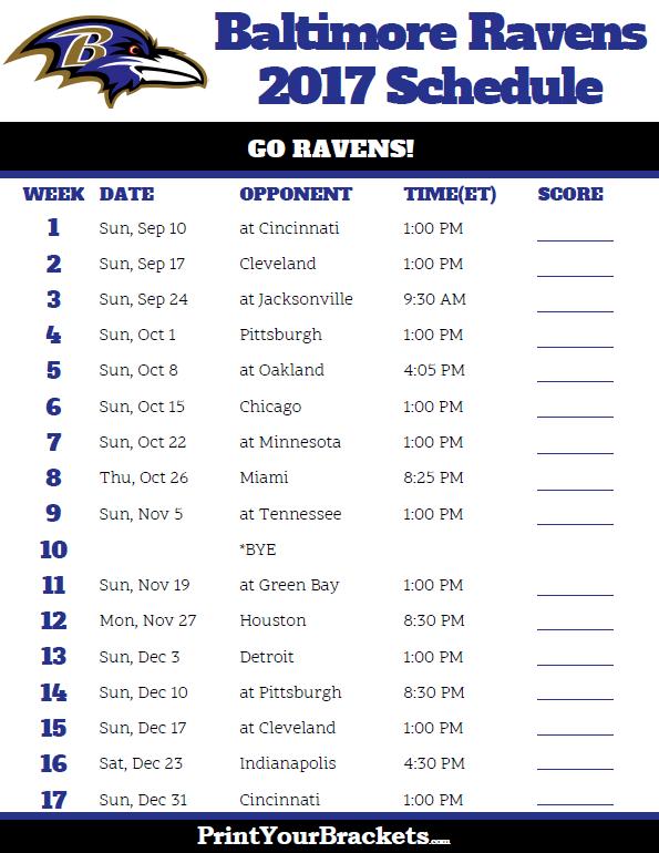 2017 Baltimore Ravens Football Schedule Printable Nfl Schedules