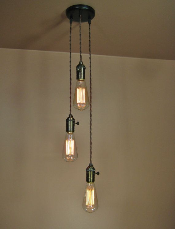 3 Light Cascading Chandelier Bare Bulb Pendant By Bluemoonlights 189 00 Hanging Ceiling Lights Edison Light Bulb Chandelier Chandelier Pendant Lights