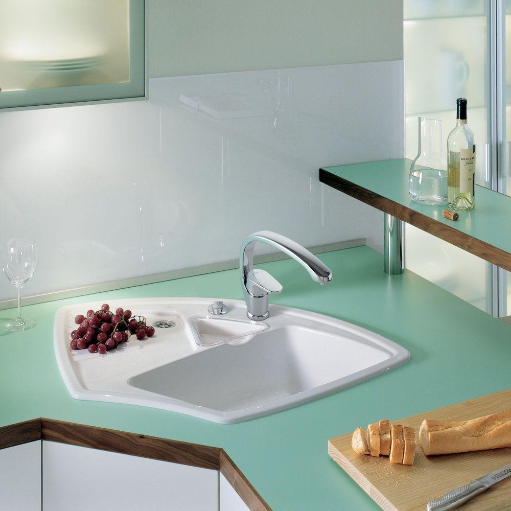 Villeroy & Boch Arena 1.25 Bowl White Ceramic Corner Kitchen Sink ...