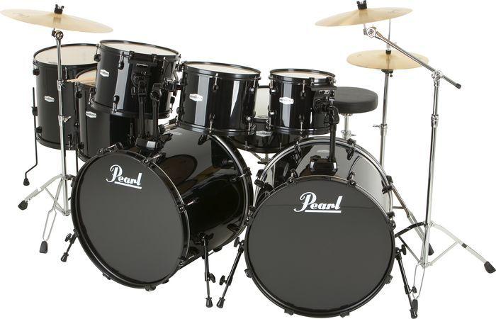 Pearl Forum 8 Piece Double Bass Drum Set Jet Black