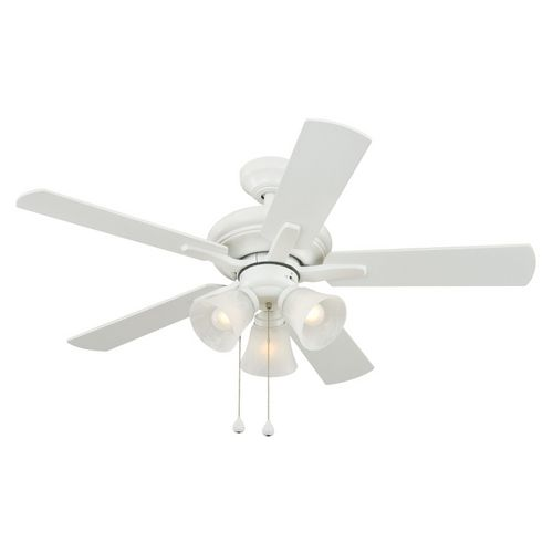 "44 White Downrod Close Mount Indoor Outdoor Tropical: Harbor Breeze 42"" White Ceiling Fan $70"