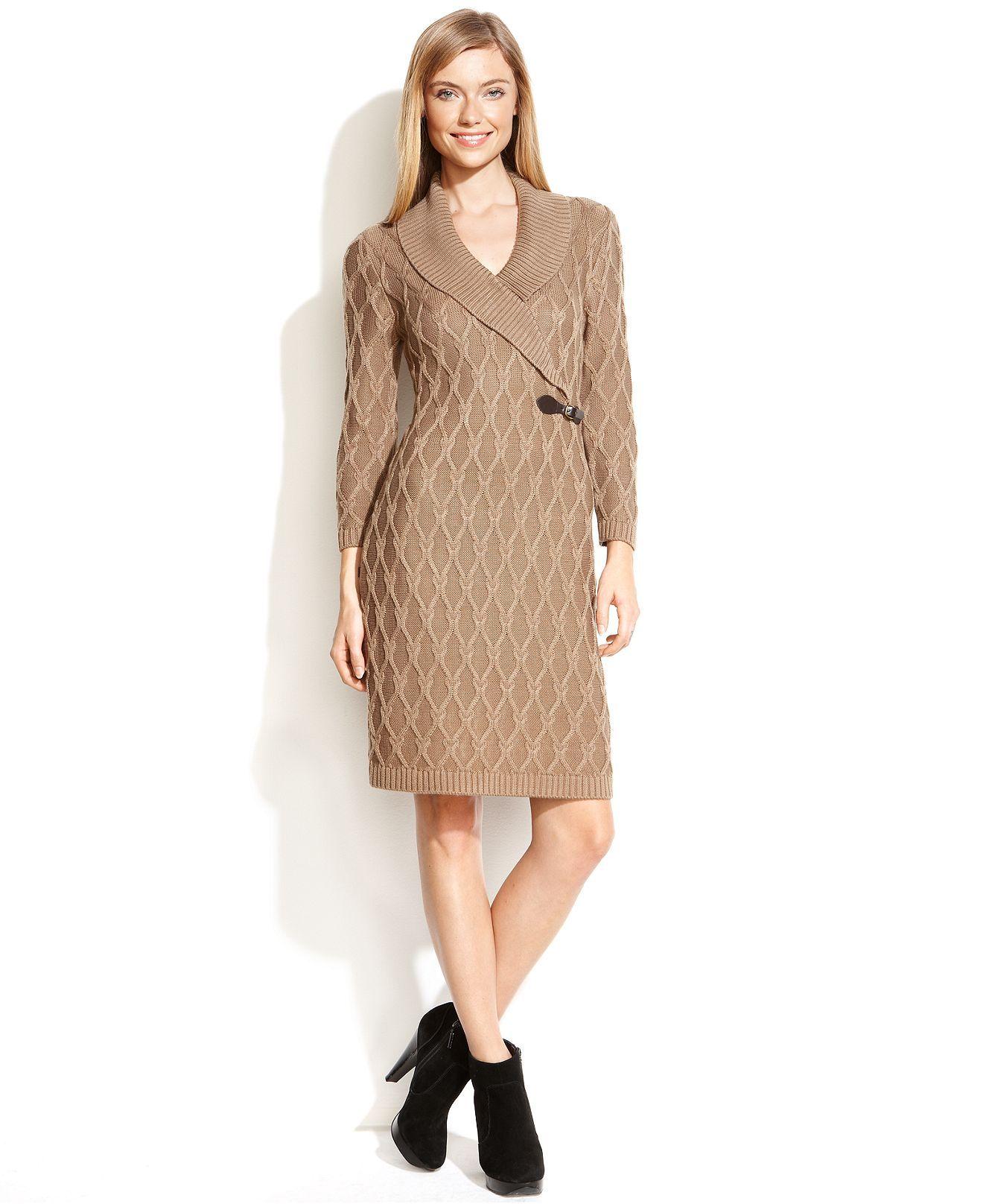 Calvin Klein Dress, Three-Quarter-Sleeve Knit Buckle Sweater