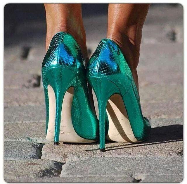 Iridescent green heels