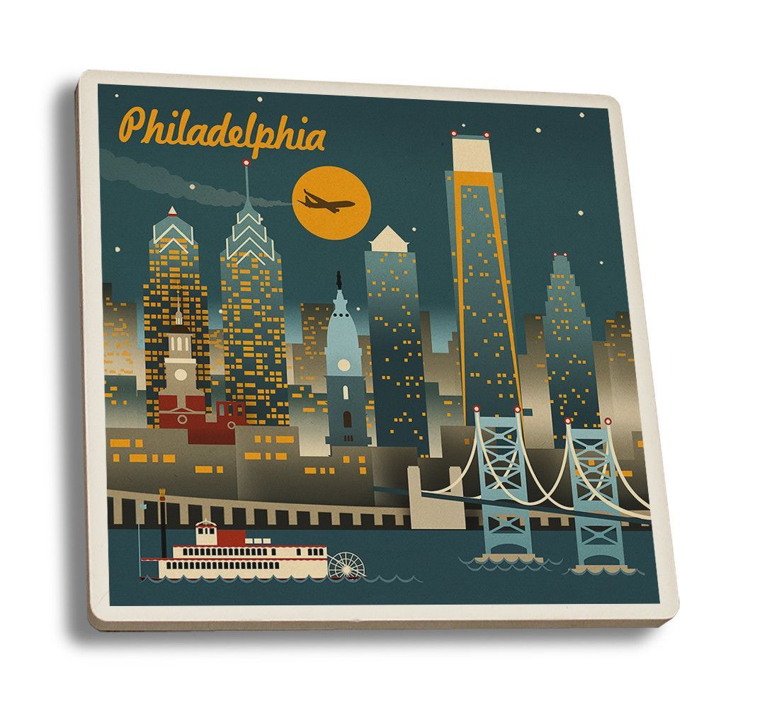 Coaster (Philadelphia, Pennsylvania - Retro Skyline - Lantern Press Artwork)