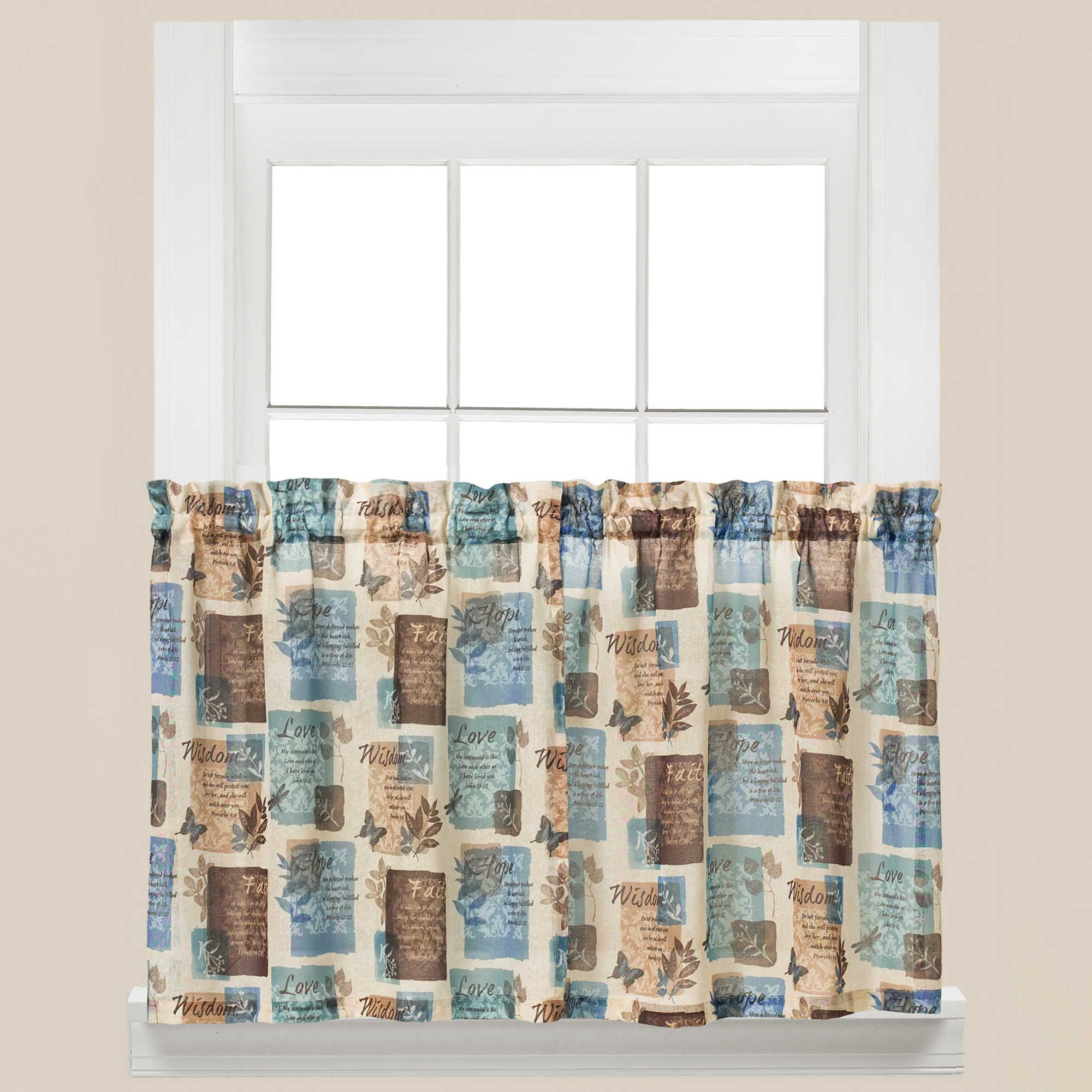 Adorn Your Kitchen With Quotes Of Wisdom Love Faith And Hope With The Faith Kitchen Window Curtain Tier Pai Curtains Kitchen Window Curtains Window Curtains