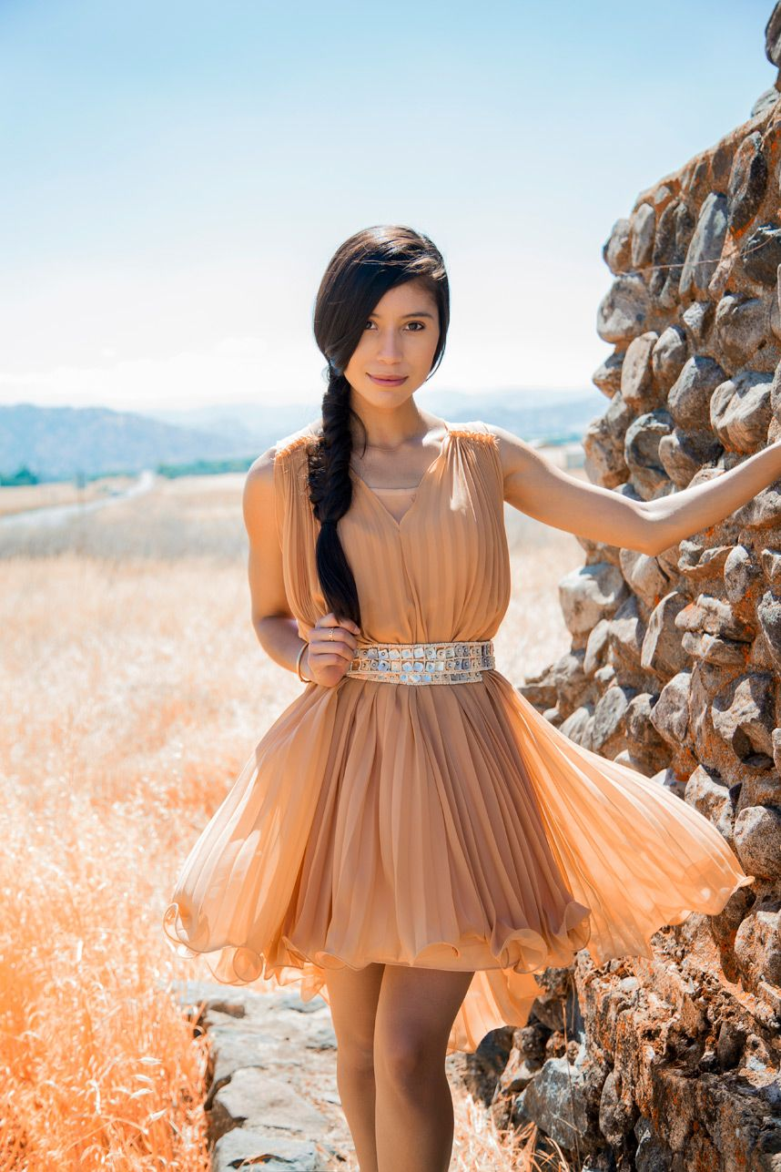 A Nude Pleated Dress For Summer  Isnt That Cute  Nude -7985