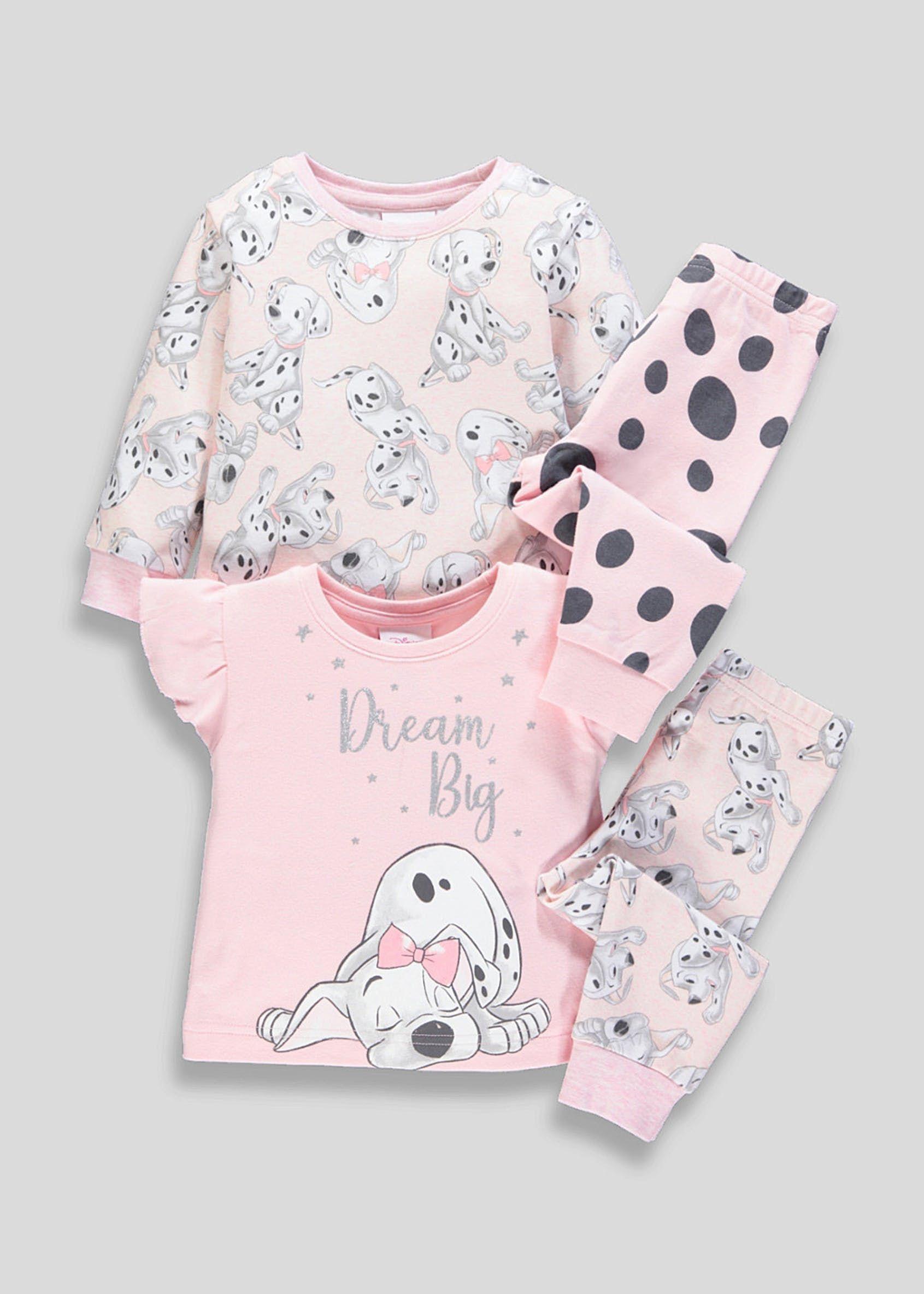 Kids 2 Pack Disney 101 Dalmatians Pyjamas 3mths 6yrs Pink Pyjamas Dalmatian Kids