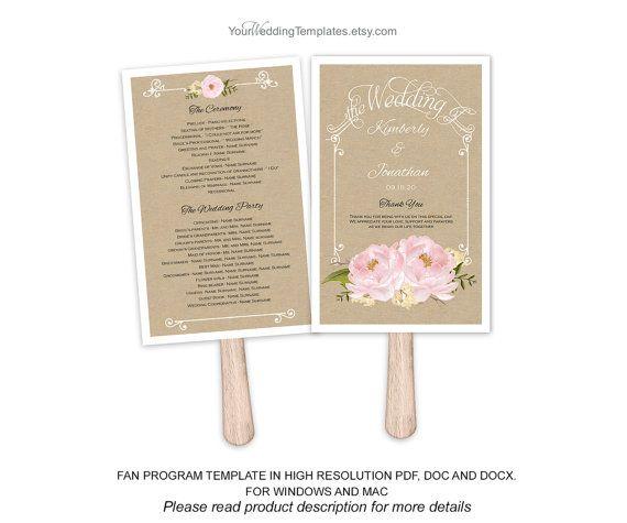 Rustic Pink Wedding Program Fan Template Wedding Program Download
