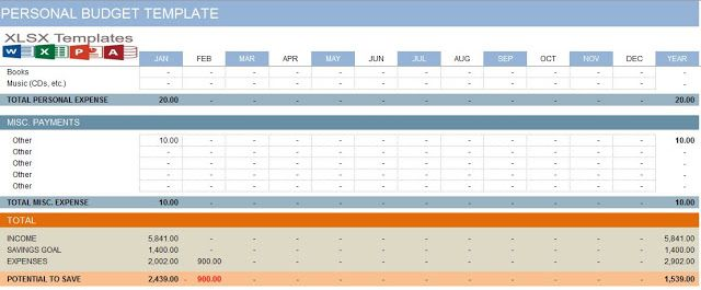 Free Download Personal Expense Budget Template Excel - XLSX Temp