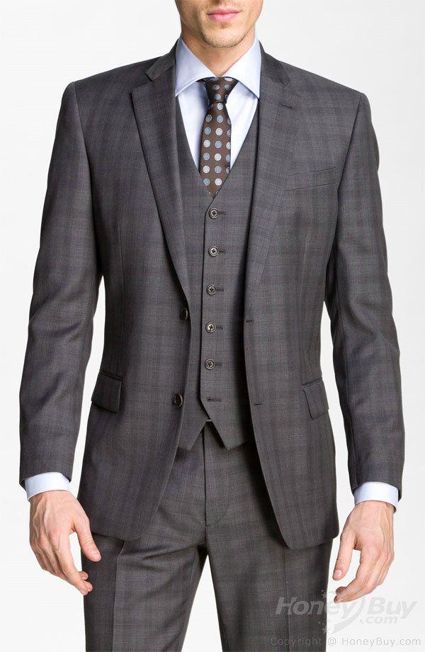 Plaid Charcoal Grey 3-Piece Suit | Wedding Stuff | Pinterest