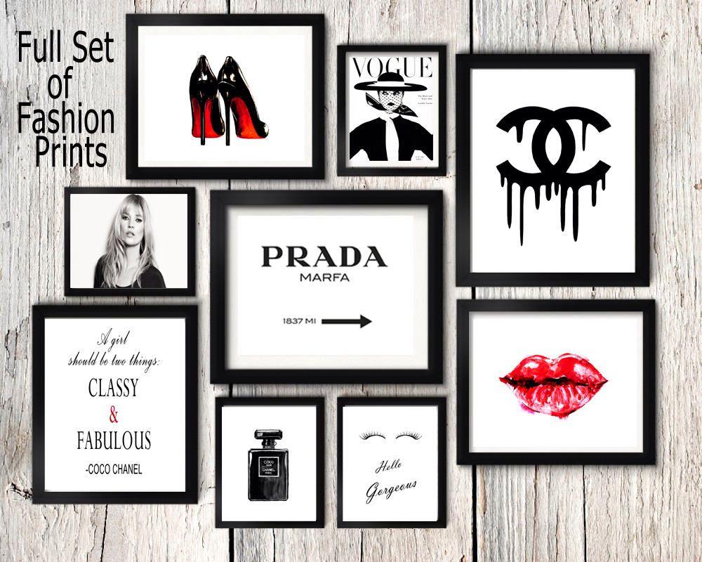 Fashion set prints, Coco Chanel perfume print, kate moss wall art