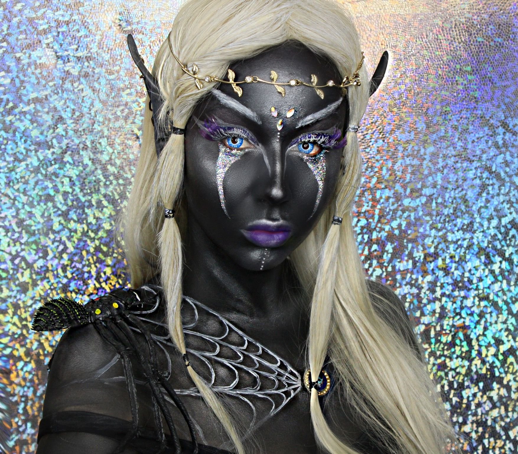 Drow dark elf makeup halloween Daiana Kir https//www