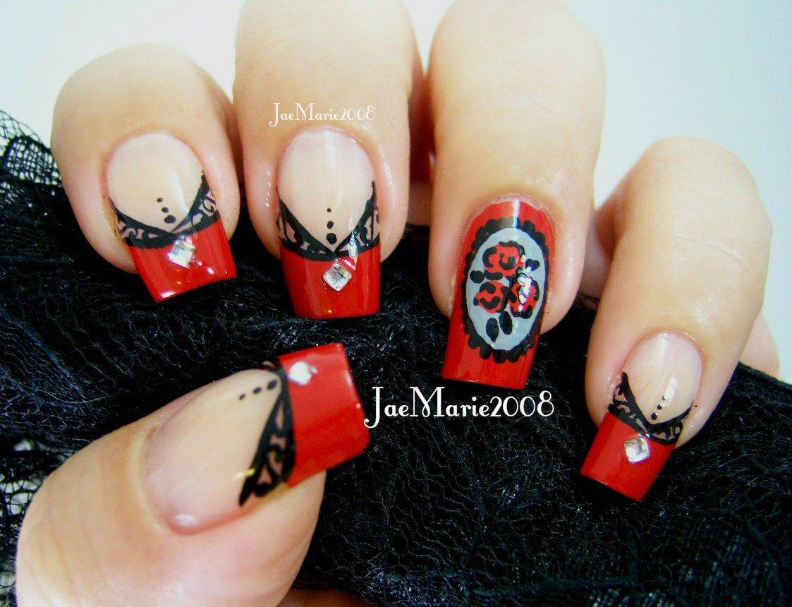 Victorian Styled-Laced Tips by JaeMarie2008 Nail tutorial: https ...