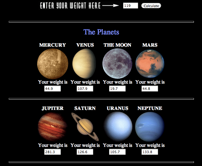 Your Weight On Other Worlds Exploratorium Cool Science Experiments Planets Planets Activities
