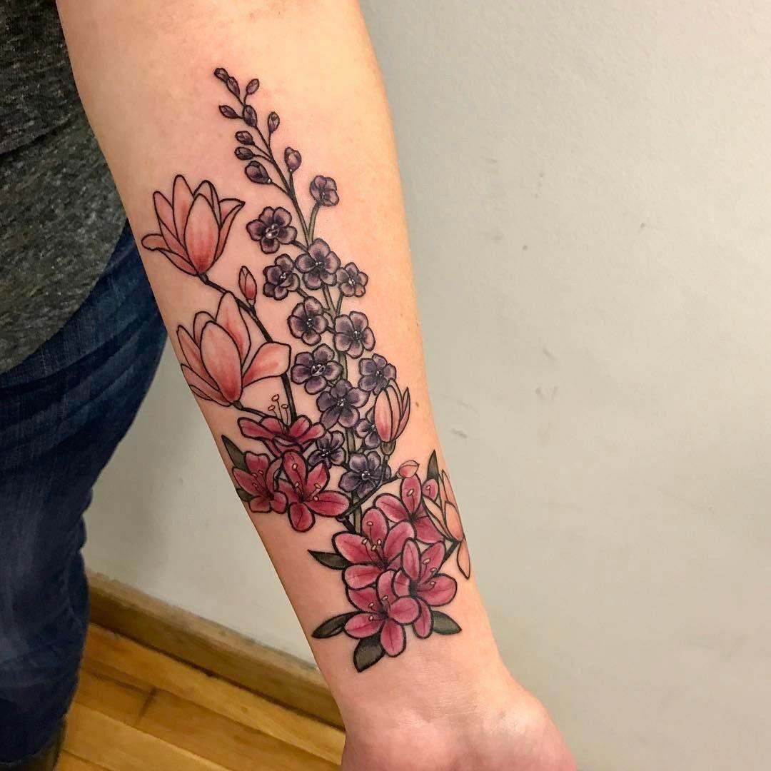 Flower Tattoo Tattoos Tattoos Floral Botanical Japanese Magnolia Azalea Delphinium Feminine Tat Birth Flower Tattoos Tattoos Half Sleeve Tattoos Color