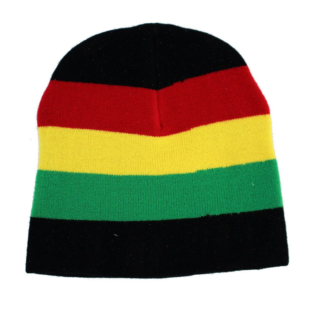c988d7425 Details about Rasta Irie Red Yellow Green Black Beanie Knit Hat Punk ...