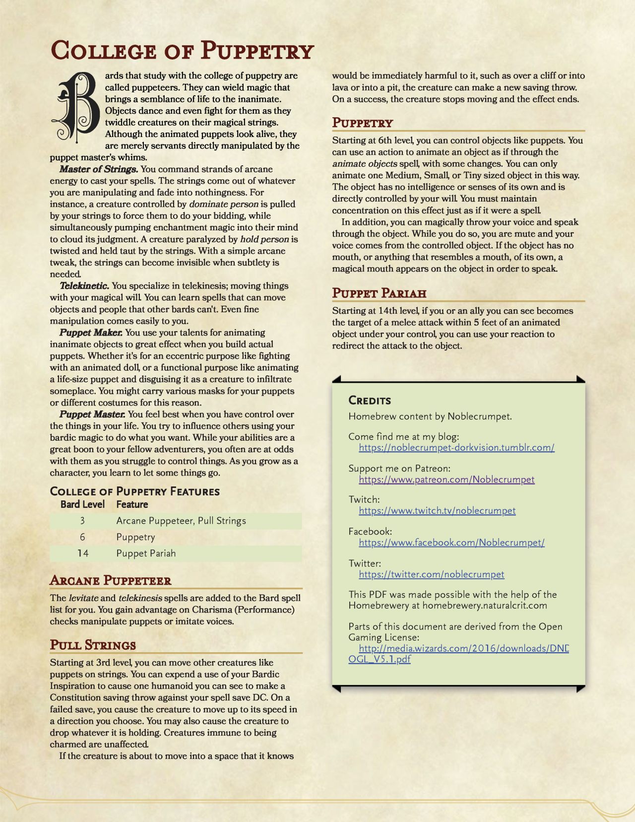 College of Puppetry Bard! in 2019 | Fantasy Gaming | Personalized