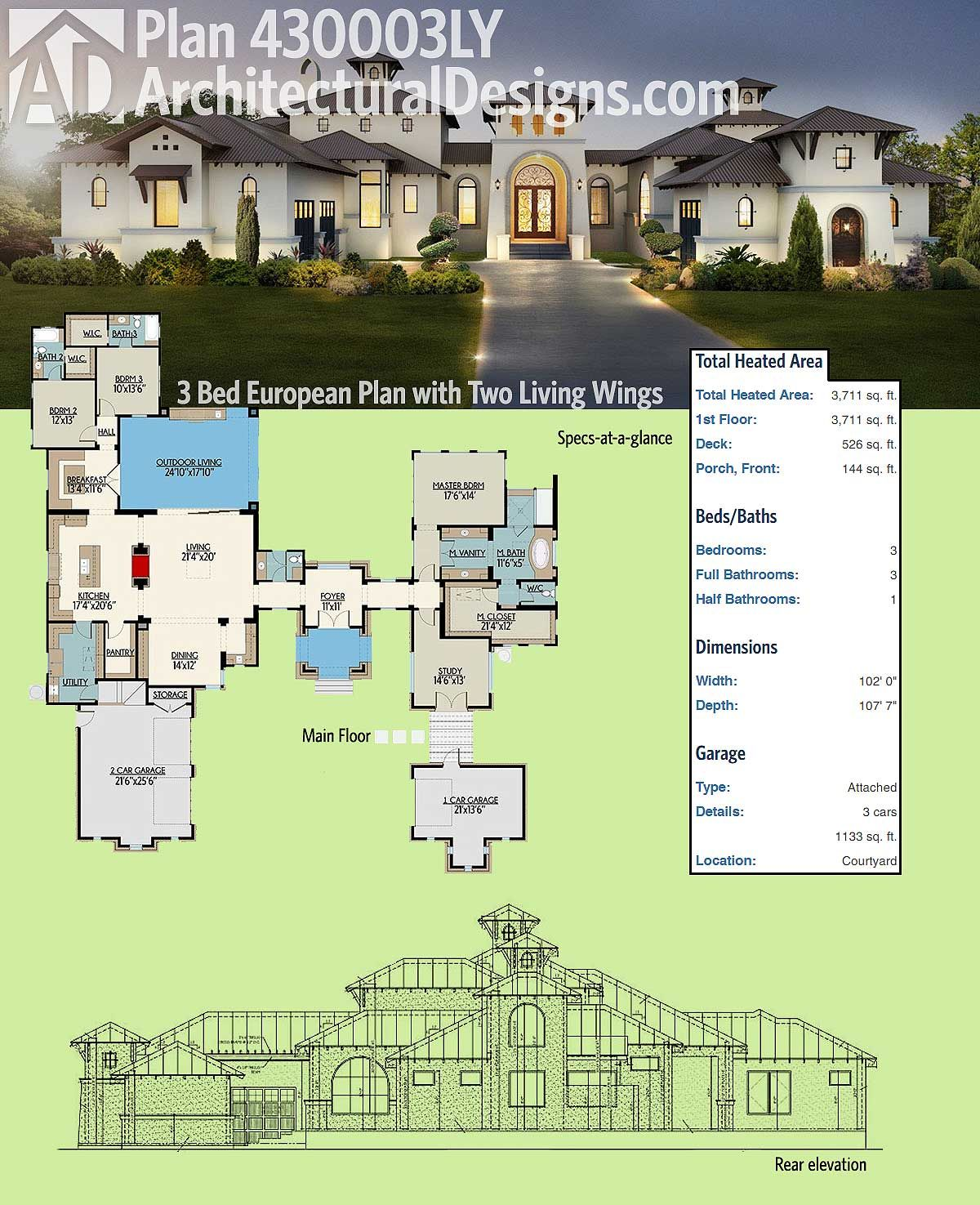 Plan 430003ly 3 Bed Hill Country House Plan With Two Living Wings House Plans Luxury House Plans Country House Plan