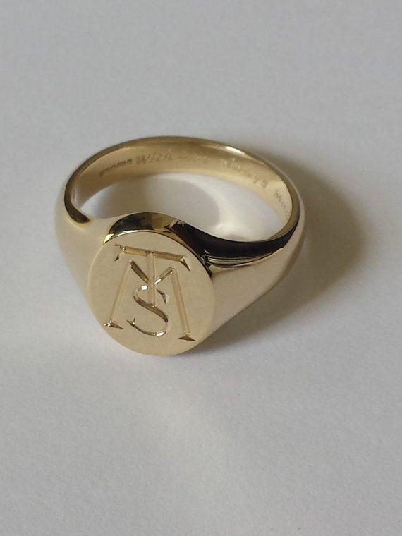 Silver Gold Or Platinum Hand Engraved Signet Ring With Your Signet Ring Men Gold Signet Ring Rings For Men