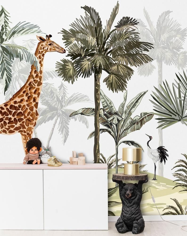 African Savannah Wildlife Palm Trees And Animals Wallpaper Etsy Palm Trees Wallpaper Wallpaper European Wallpaper