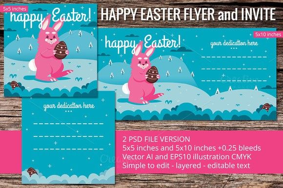 Happy Easter Square Flyer and Invite Flyer Templates $600 Flyer - Invitation Flyer Template