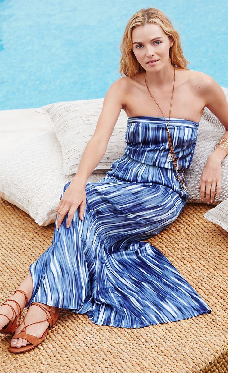 Our strapless maxi dress will infuse cool tranquility into your summer wardrobe.    White House Black Market