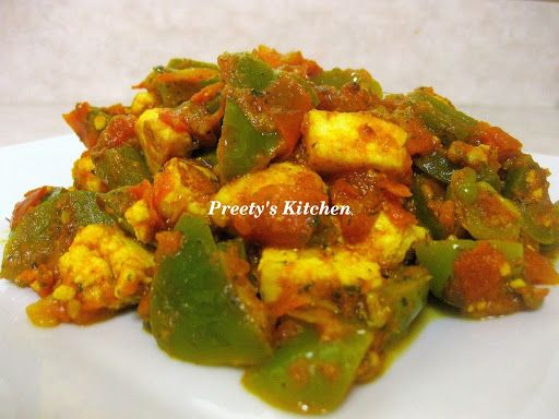 Kadhai Paneer Indian Cheese Green Pepper In Spicy Sauce Spicy Tofu Recipes Indian Cheese Stuffed Peppers