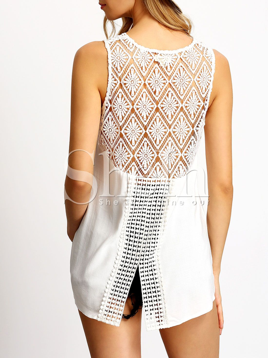 Blusa sin manga crochet encaje -blanco | Blusas | Pinterest | Blusas ...