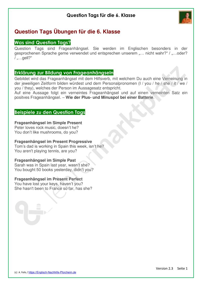 Materialpaket: Question Tags für die 6. Klasse - Erklärung und ...