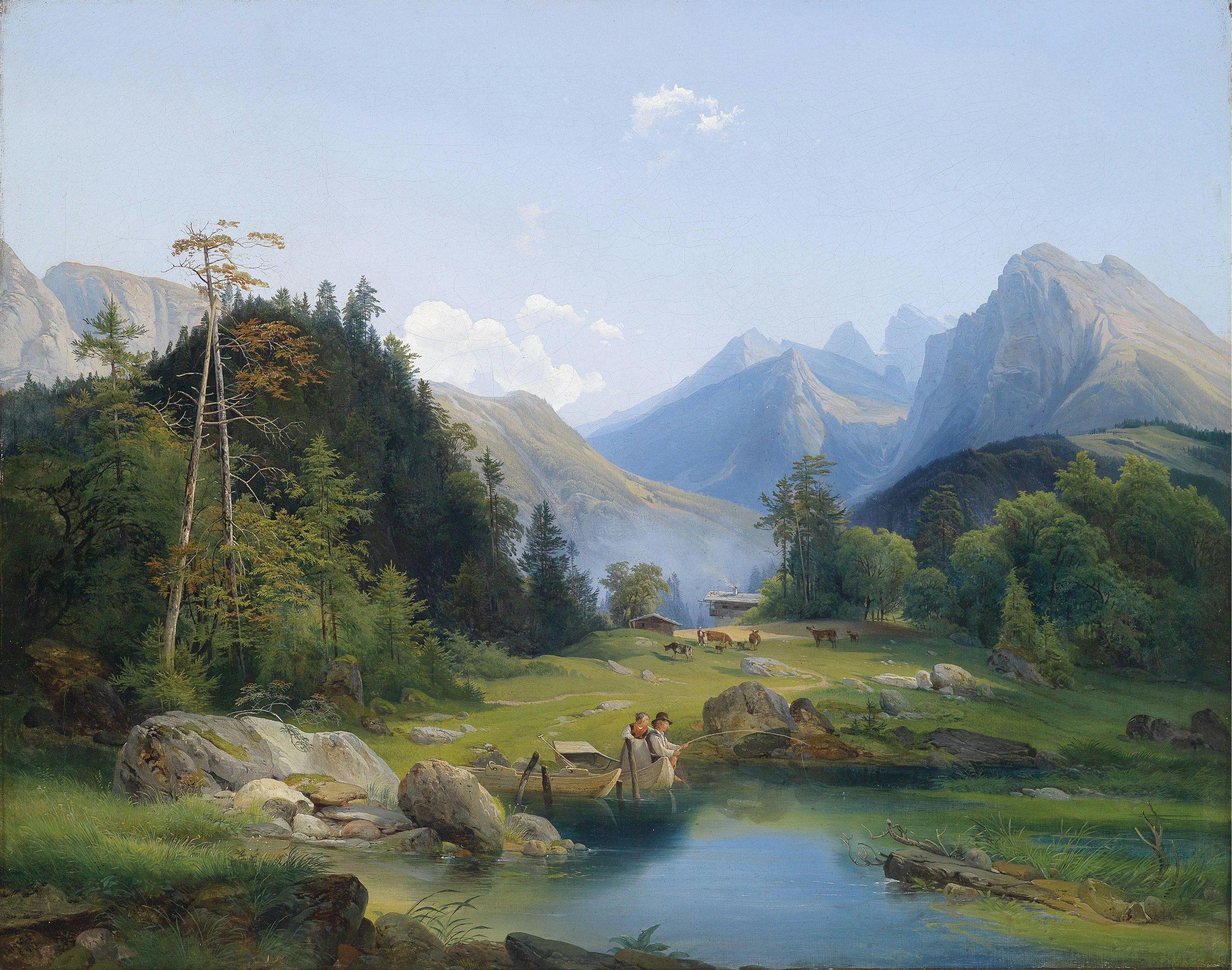 ヨーゼフ・ホルツァー (Josef Holzer)「Mountain Landscape with decorative figures」
