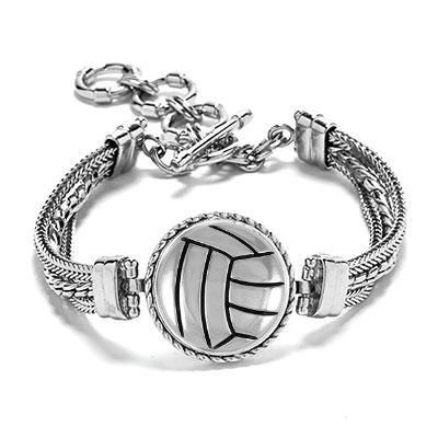 Volleyball Bracelet Volleyball Jewelry Volleyball Gift Etsy In 2020 Volleyball Jewelry Multi Chain Bracelet Soccer Jewelry