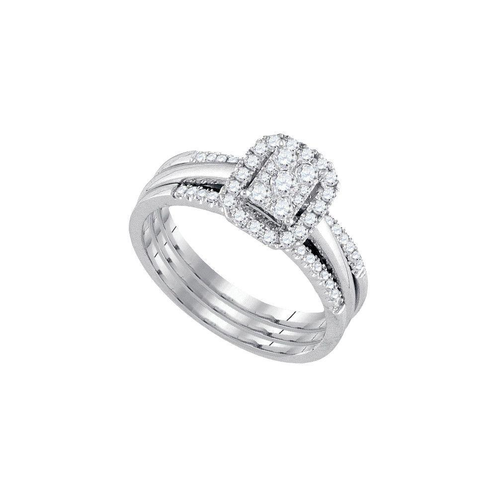 14kt White Gold Diamond Bridal Ring Set 0.50ct
