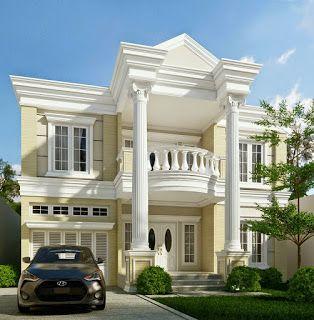 Desain Rumah Klasik Modern 2 Lantai Plus Denah Dan Tampak Desain