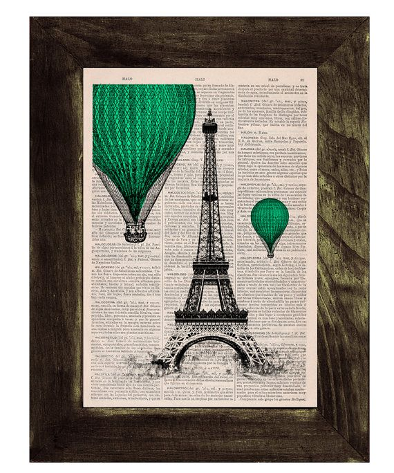 Vintage Book Print -  Eiffel Tower emerald green Balloons Ride Print on Vintage Book -France art