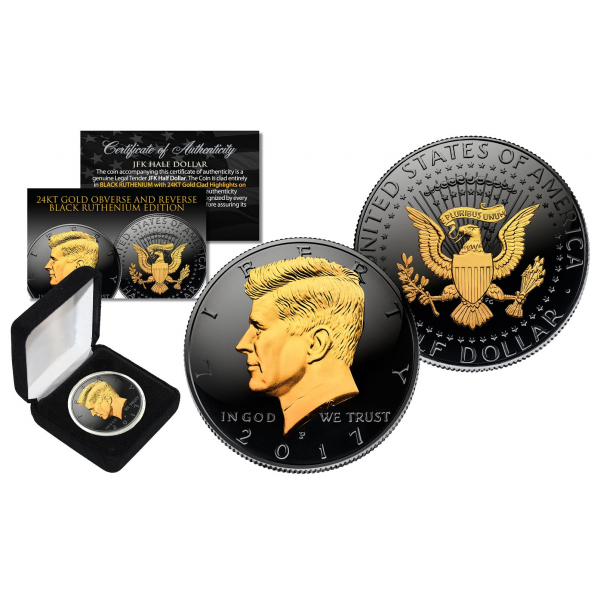 1964 BU Silver JFK Half Dollar 2-Sided 24K GOLD /& Black Ruthenium Detail w//BOX