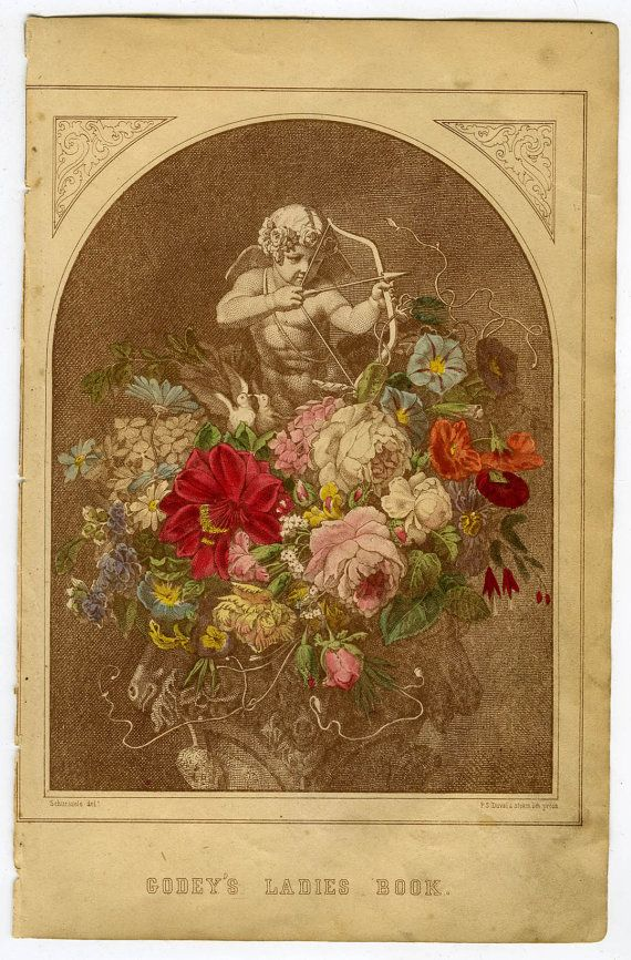 vintage godys putti with flowers hand colored stone lithograph roses