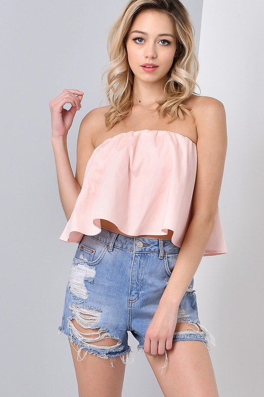 28cd630195d Pre-Sale Pink Strapless ruffle Tube Top