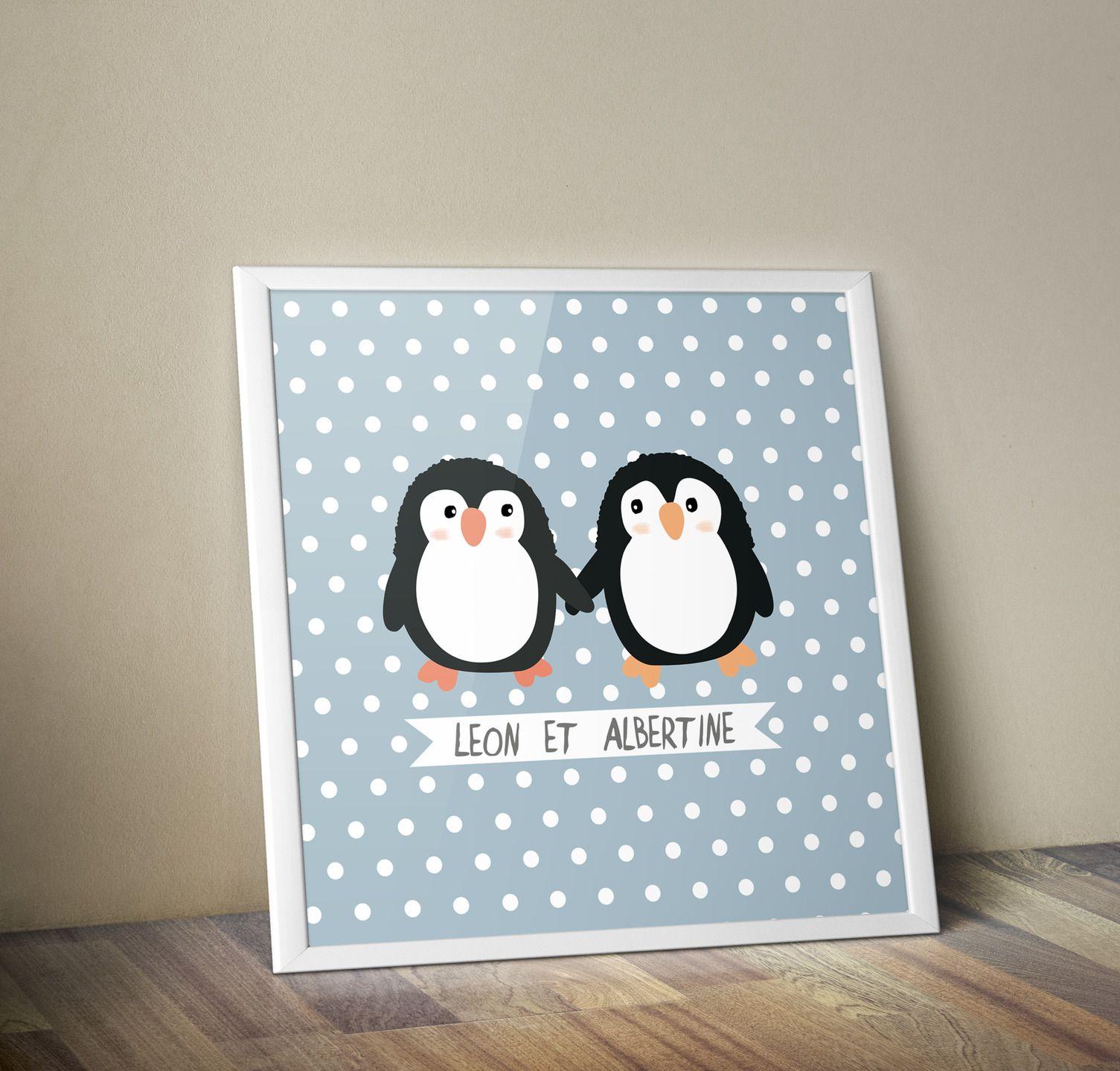 affiche d co chambre b b pingouins autres b b par boumbadaboum tsrm patte. Black Bedroom Furniture Sets. Home Design Ideas