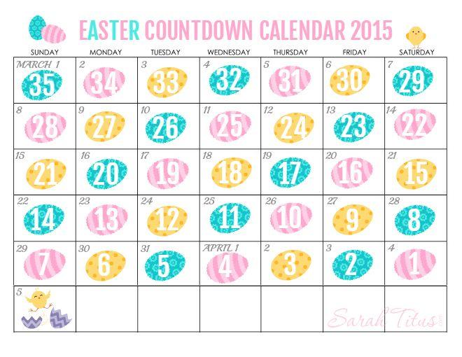 Free Printable Countdown Easter Calendar    Sarah Titus