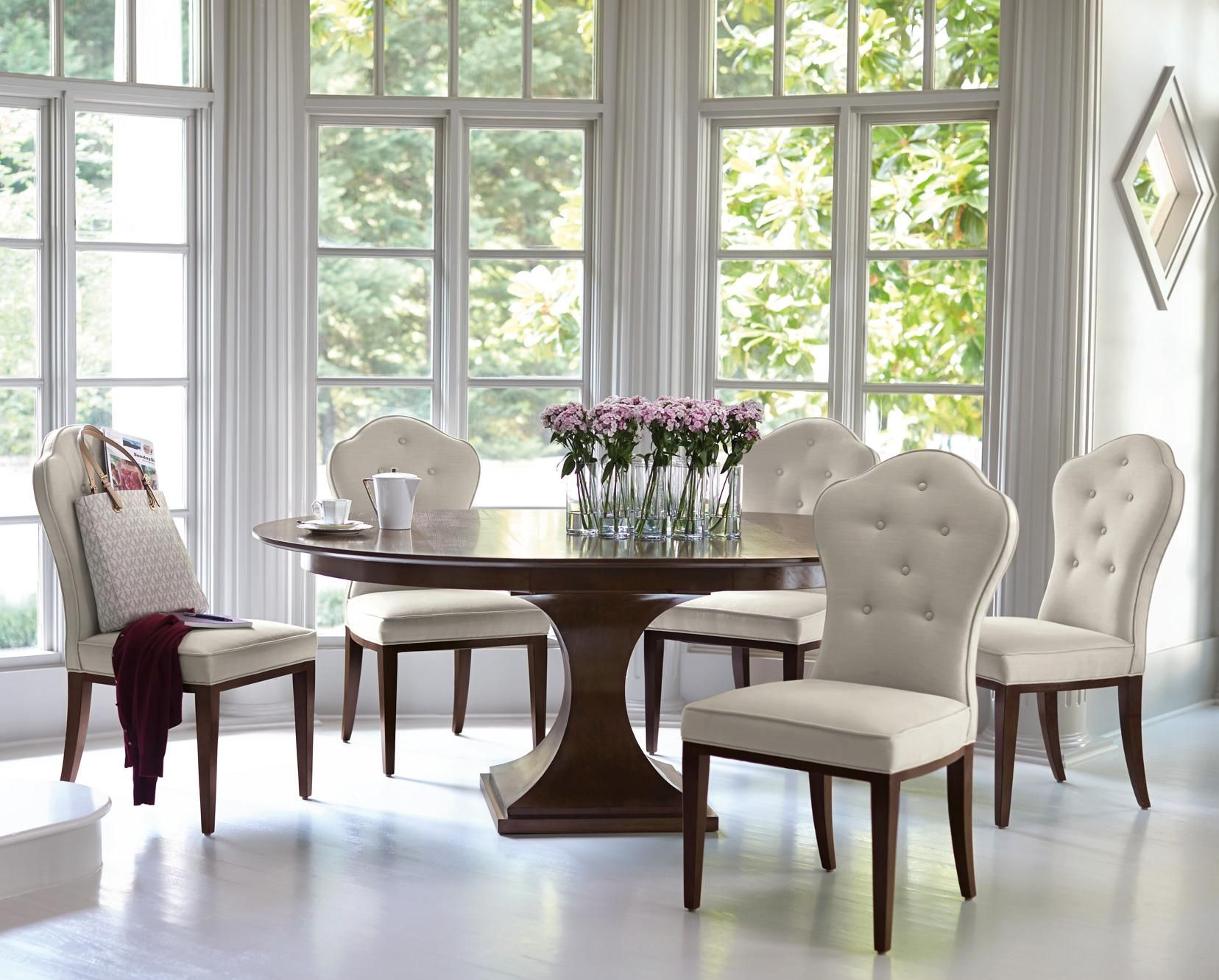 Six Piece Table And Chair Set Features A Single Pedestal And Extraordinary Single Dining Room Chair Design Ideas