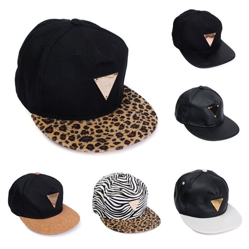 68761047df4 Men Women Leopard Hip Hop Baseball Flat Cap Adjustable Black Snapback Visor  Hat
