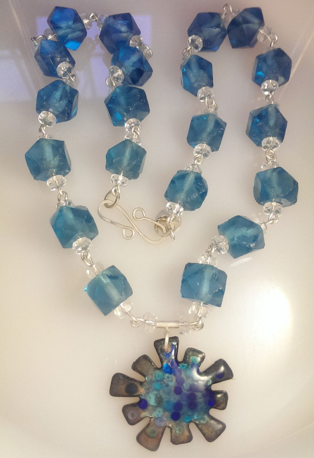 Crystal Blue Necklace - Vintage English Cut Glass and  Enamel focal by SpurwinkRiverArts on Etsy