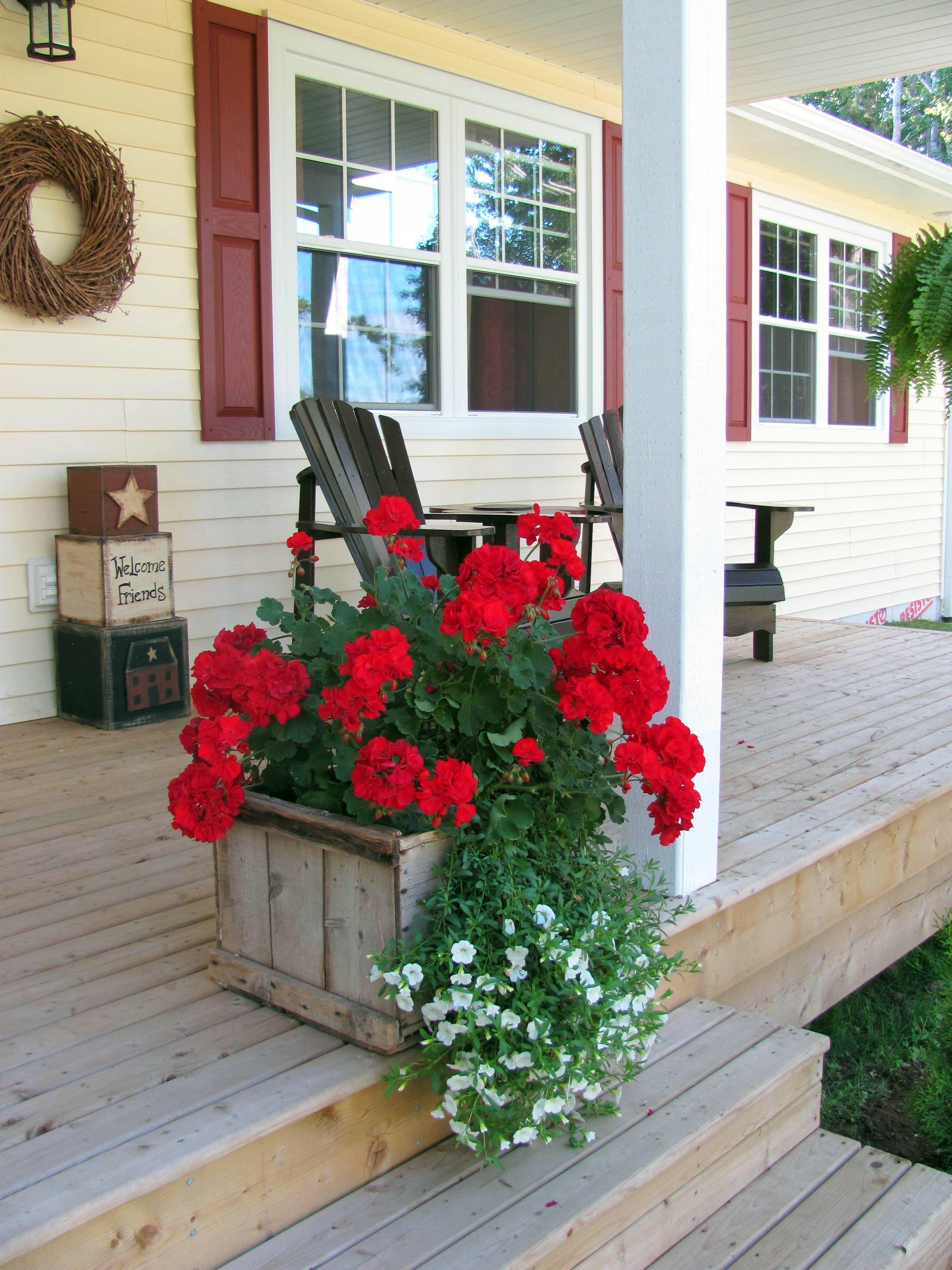 Crate planter Geraniums garden, Porch planters, Cottage