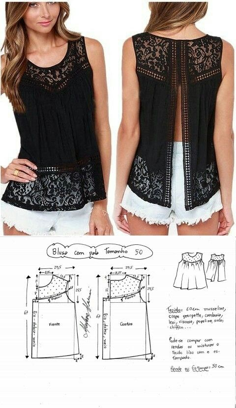 Lace patterned top...<3 Deniz <3 | ropa | Pinterest | Costura ...
