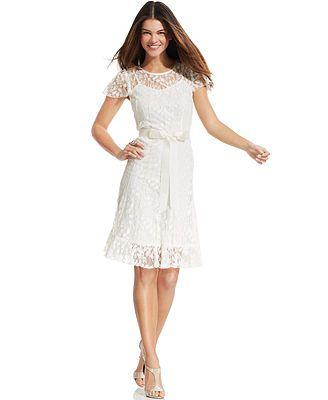 Jessica Howard Petite Flutter-Sleeve Lace Dress #macys | Wedding ...