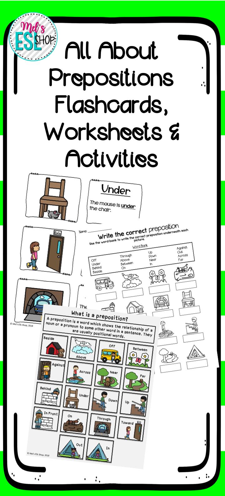 ESL Prepositions - Posters, Flashcards, Worksheets ...